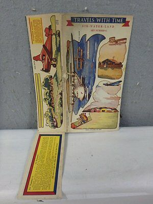 VINTAGE 1937 Quaker Oats Cereal Travels With Time Transportation Box Panel #6