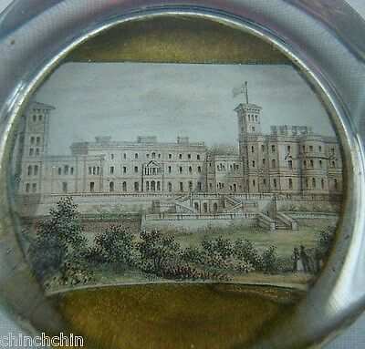 MINIATURE Exquisite PAINTING Glass PAPERWEIGHT 1800s Thomas Cubitt OSBORNE HOUSE