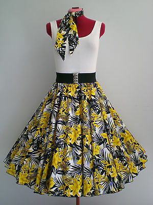 "ROCK N ROLL/ROCKABILLY ""Tropical Hawaii"" SKIRT & SCARF S-M White/Yellow/Black."
