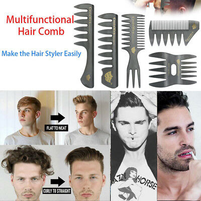 New 5PCS Set Hair Comb For Men Hair Styler Insert Hair Pick Comb Show Wide Tooth