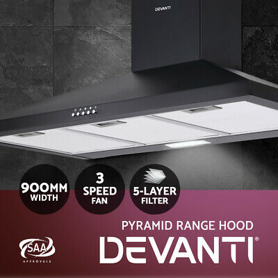900mm 90cm Rangehood Stainless Steel Glass Range Hood Commercial Kitchen Canopy