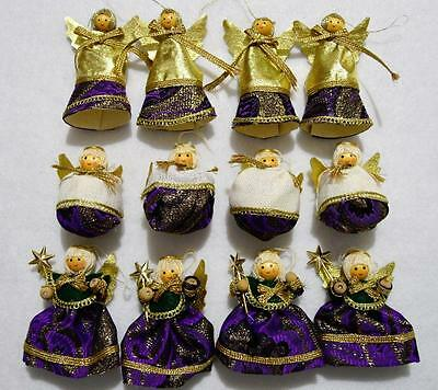 Lot Of 12 Purple & Gold Fabric Angel Christmas Ornaments~New