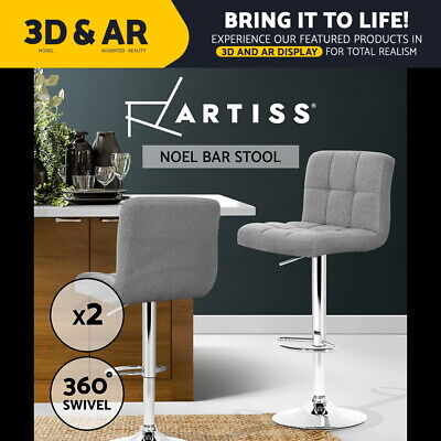 2x Fabric Bar Stools Swivel Chair Gas Lift Barstool Dining Kitchen Grey 055