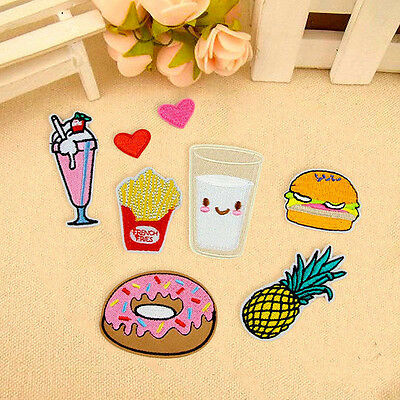 8pcs Fruit Donuts Badge Embroidery Sew Iron On Patch Bag Clothes Fabric Applique