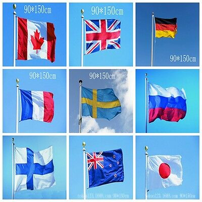 """3'x5' FT World Country Flags 22 Kinds Of National Flag 90x150cm/35.43""""x59.06"""""""