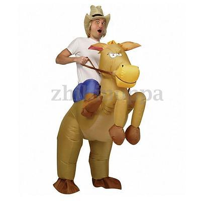 Inflatable Cowboy Costume Horse & Hat Fancy Dress Suit Stag Party Outfit Gift