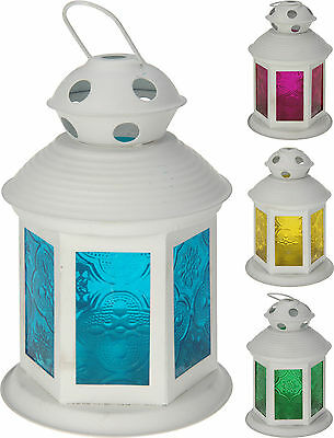 Set of 2 Lanterns Tea Light Holder Metal Garden Lantern Patio Terrace Light