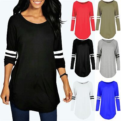 Womens Ladies Sports Stripe Long Sleeve Plain Oversized Curved Hem Top Dress