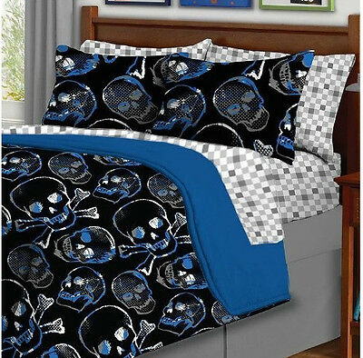 Skull & Crossbones Blue & Black, Gothic Queen Comforter Set (8 Piece Bed In Bag)