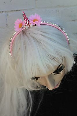 Mini Unicorn Flower Crown Headband Festival Pastel Goth Bridesmaids