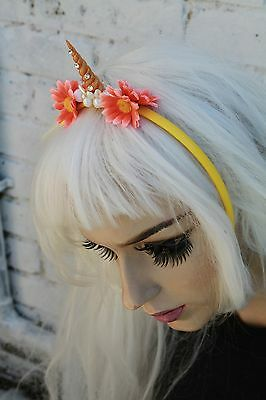 Mini Unicorn Horn Flower Crown Headband Festival Pastel Goth Bridesmaids