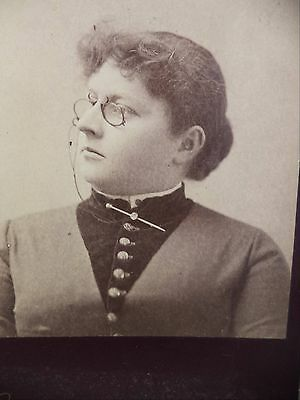 Antique Gendron Cabinet Card B&W Lady Pince Nez Glasses Button Collar Pin Chain