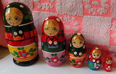 """old russian  design  Zagorsk     RUSSIAN NESTING DOLL  5 PCS  4.5""""  #5"""