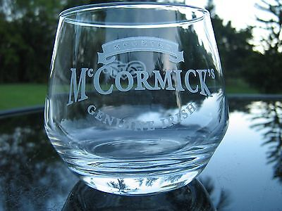Mc Cormick's Irish Country Cream Glass Frosted Logo Fancy Curved Bottom Nice!!!