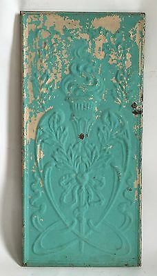 11 x 23 1890's Antique Tin Ceiling Tile Wrapped Blue Wall Art Anniversary C21