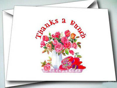 24 Note Cards W/ Envelopes Flowers Red Hat Thanks A Bunch For Ladies Of Society
