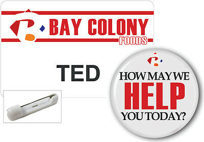 Name Badge Button Set Halloween  Ted From Bay Colony Pin Ships Free