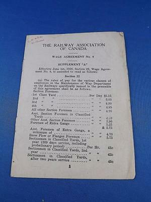 Railway Association Of Canada Wage Agreement Booklet No. 8 1929