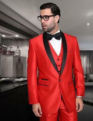 New Statement 3 PC Modern Fit Shiny Red Tuxedo Suit Vest Pants Style Rome