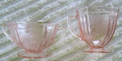 Federal Glass Sharon Cabbage Rose Pink Depression Open Sugar and Creamer