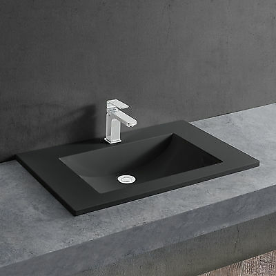 [neu.haus] Wash basin black 60x46cm Built-in washbasin Mounting Hand basin