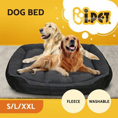 Deluxe Soft Pet Bed Dog Cat Warm Basket Cushion Fleece Lining Washable S L XXL