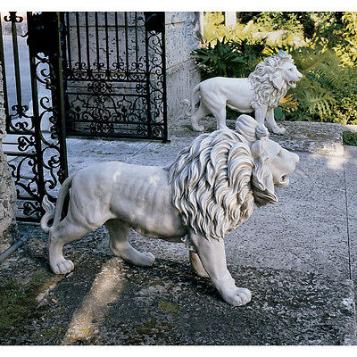Lion European Style Estate Sentinel Sculpture Statue Set of Two Left & Right