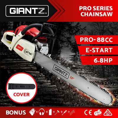 "92cc Petrol Commercial Chainsaw 24"" Bar E-Start Chain Saw Pruning Giantz PROMO"