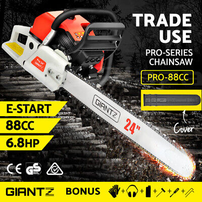 "NEW 92cc Petrol Commercial Chainsaw 24"" Bar E-Start Chain Saw Pruning Giantz"