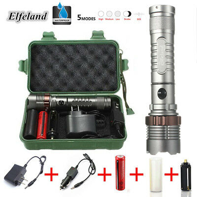 Elfeland 5000LM T6 LED Rechargeable Flashlight Torch 18650 Charger Box Set