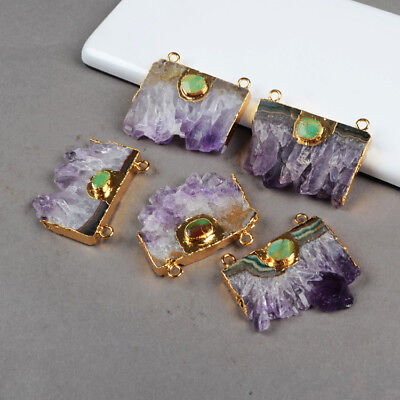 1Pcs Natural Amethyst Druzy Slice Connector & Real Turquoise Gold Plated HG0214