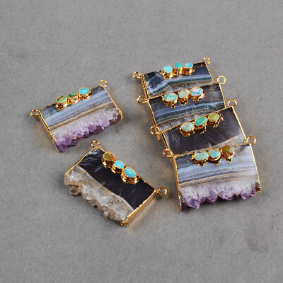 1Pcs Natural Amethyst Druzy Connector With Real Turquoise Gold Plated HOT HG0357