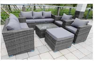 Rattan Wicker Garden Furniture Conservatory Sofa SET 8 SEAT 1 TABLE Grey
