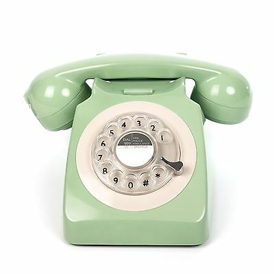 ProTelX GPO 746 Retro Mint Green Telephone 60's 70's British Rotary Dial Phone