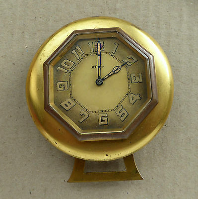 Folding brass vintage 8 day clock for repair, excellent dial hands etc, 76mm dia