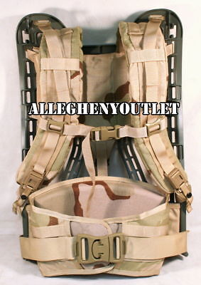 MOLLE GEN 4 ACU FRAME w/ Desert SHOULDER STRAPS and KIDNEY PAD Rifleman SET NEW