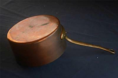 French Antique Vintage Copper Tinned Pan Stamped B Bronze Handle 3.12 Pounds
