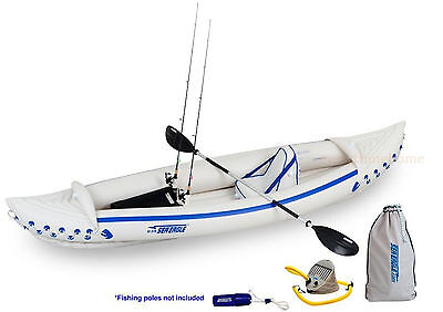 Sea Eagle 370 Sport Fishing Kayak Package Paddle Seat Pump Store Box, Rod Holder