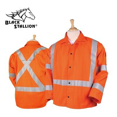 "Black Stallion 30"" Hi-Vis FR Cotton Welding Jacket - JF1012 Orange"