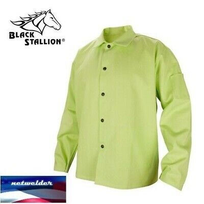 "BLACK STALLION 9 oz. FR Cotton Welding Coat - 30"" Lime Green FL9-30C"