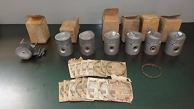 New NOS GM 1941 1942 Buick Engine Lot of (6) Pistons & Rings 1393033 1393032