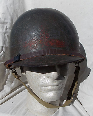 WW2  US Army USMC Soldiers M-1 Helmet & Liner Complete Rear Seam