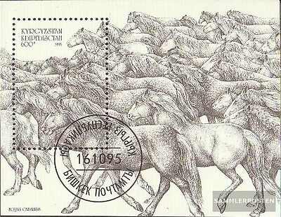 Kyrgyzstan block12 fine used / cancelled 1995 Horses