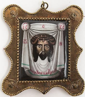 Old Antique Russian icon of Jesus Christ, Not Made By Hands, 19th c