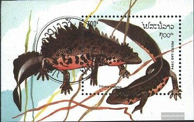 Laos block150 (complete issue) used 1994 Reptiles and Amphibian