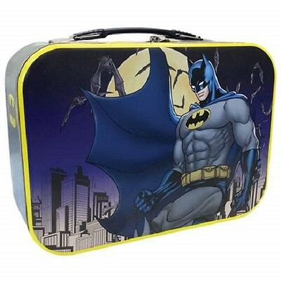 25552 Batman Large Tin Tote Lunch Box Container School Kids Cartoon