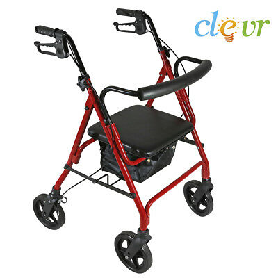 Clevr Medical Four Wheel Rollator with Fold Up Removable Back Support, Red