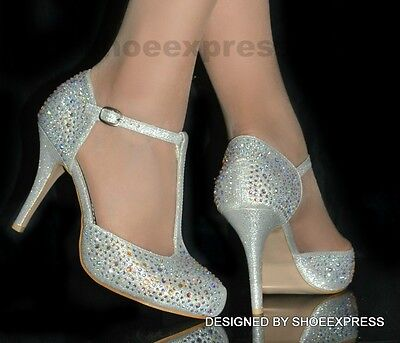 Womens New Silver Diamante Middle Heel High Heel T Bar Party Bridal Shoes