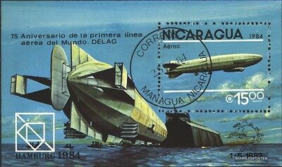 Nicaragua block158 (complete issue) used 1984 75 years Zeppelin