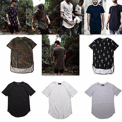 Men Boys Hipster Curved Hem Longline Tee T-shirt Long Elongated Tall Base Shirt